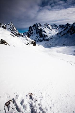 endless flat glacier alone.