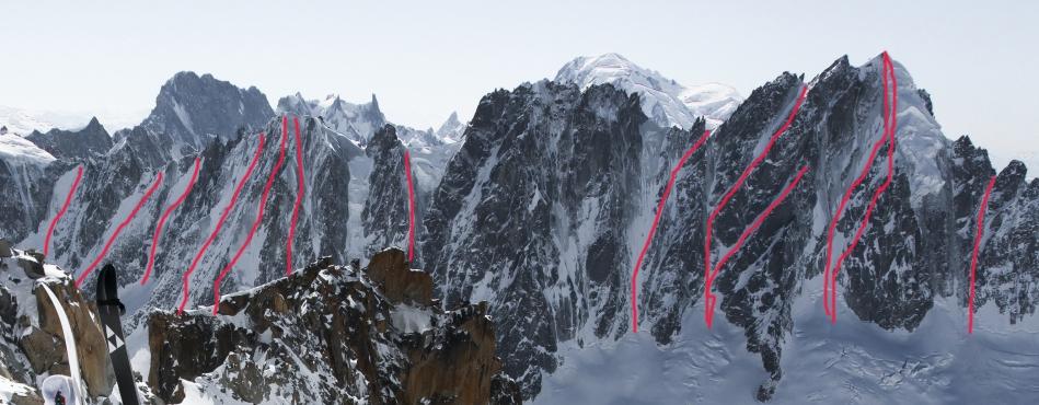 chamonix, mont blanc, col des courtes, col de la verte, couturier, col armand charlet, steep skiing, col des droites, les courtes
