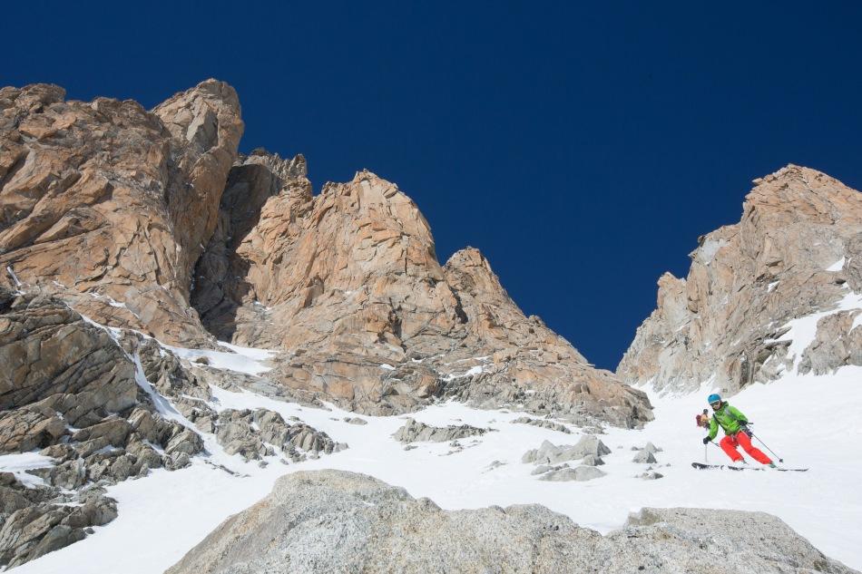 argentiere, y couloir, chamonix, steep skiing