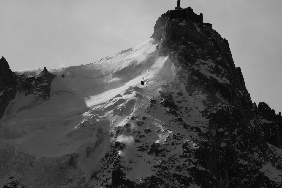david rosenbarger, arne backstrom. north face aiguille du midi, chamonix