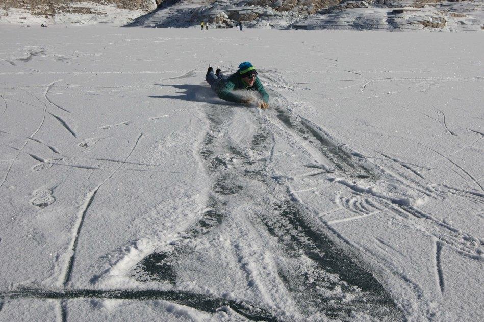 john minogue, giulia monego. emosson dam. ice skate