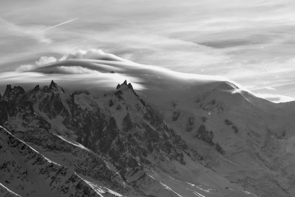 aiguille du midi, mont blanc under clouds